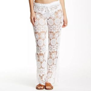 NWT $195 Gypsy05 Crochet Bell Pant in white